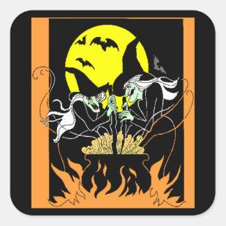 Chaudron de sorcières de Halloween Sticker Carré