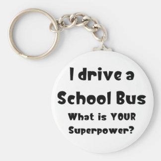 Chauffeur d'autobus scolaire porte-clé rond