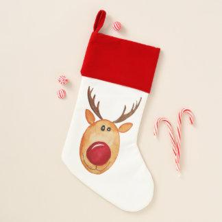 Chaussette De Noël Aquarelle élégante Rudolph le bas de renne