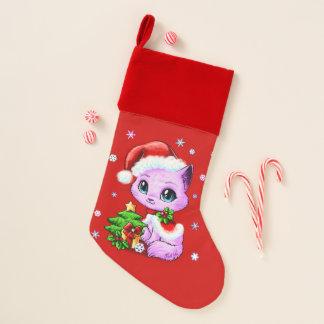 Chaussette De Noël Bas de chat de Noël rayé par velours fait par USA