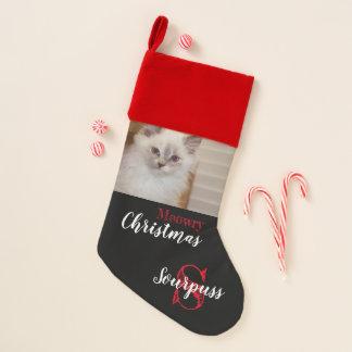 Chaussette De Noël Bas de Noël de Meowry du chat avec Photo&Name -