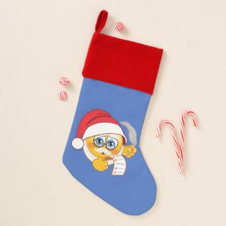 Chaussette De Noël Bas de Noël d'Emoji de la liste de Père Noël
