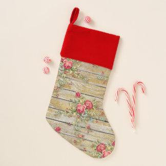 Chaussette De Noël Bas rayé par velours chic minable de rose rouge