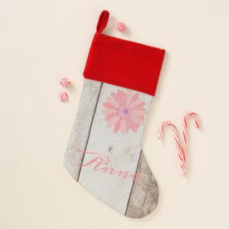Chaussette De Noël Bois rustique avec la coutume rose de fleur