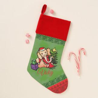 Chaussette De Noël Éléphant de fête doux nommé de Père Noël de Noël
