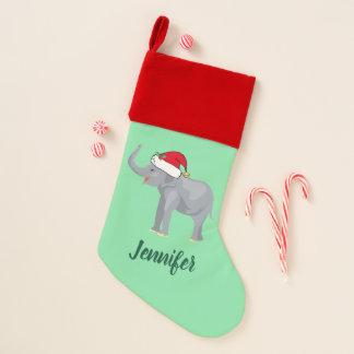 Chaussette De Noël Éléphant mignon Père Noël de Noël