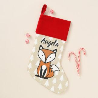 Chaussette De Noël Fox de Noël et arbres blancs avec le nom en