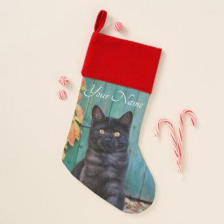 Chaussette De Noël Le rouge mignon de chaton de chat noir laisse la