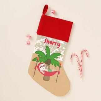 Chaussette De Noël Noël Père Noël à la plage ajoutent le bas nommé
