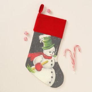 Chaussette De Noël Noël vintage de bonhomme de neige