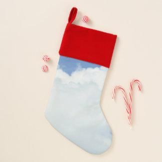 Chaussette De Noël Nuages pelucheux en ciel bleu