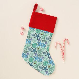 Chaussette De Noël Nuances des coquillages et du motif bleus