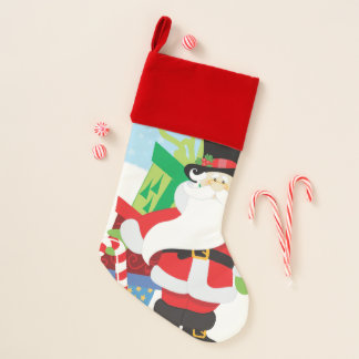 Chaussette De Noël père Noël dans le tophat par la pile de presentts