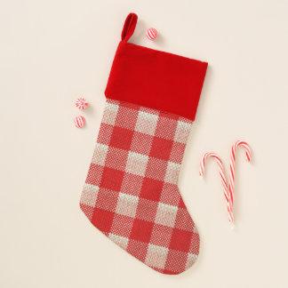 Chaussette De Noël Regard Checkered de toile de jute de motif de