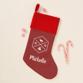 Chaussette De Noël Rouge personnalisé et blanc bonnes fêtes