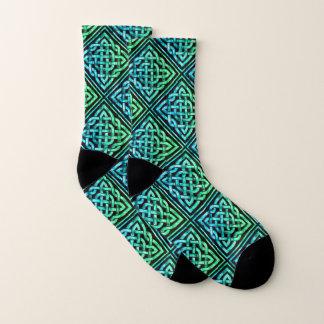 Chaussettes celtiques de vert bleu de diamant de