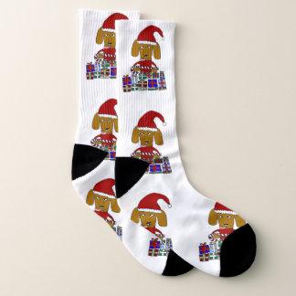 Chaussettes drôles de chien de Noël