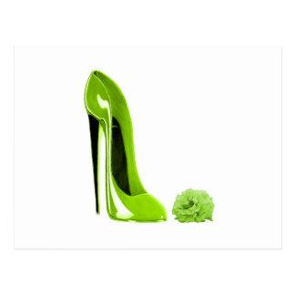 Chaussure de stylet de vert de chaux carte postale