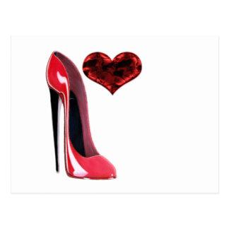Chaussure et coeur 3D stylets rouges Cartes Postales