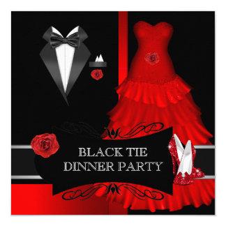 Chaussure formelle de rouge de cravate noire de carton d'invitation  13,33 cm