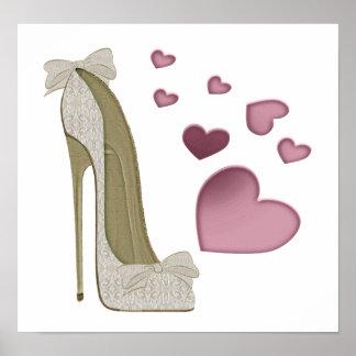 Chaussure stylet de dentelle et d'arcs et copie ro posters