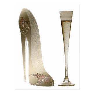Chaussure stylet et célébration Champagne de sépia Cartes Postales