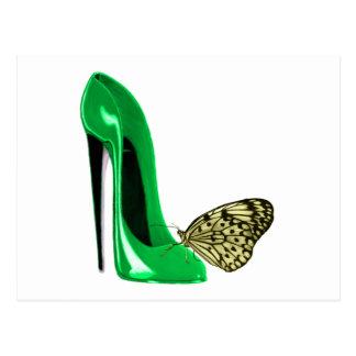 Chaussure stylet et papillon de vert vert cartes postales