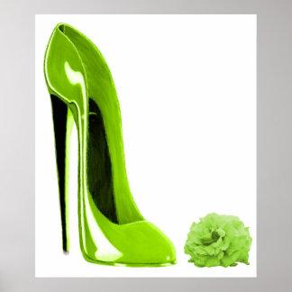 Chaussure stylet et RosePrint de vert de chaux Posters