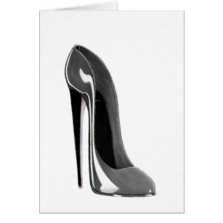 Chaussure stylet grise carte de vœux