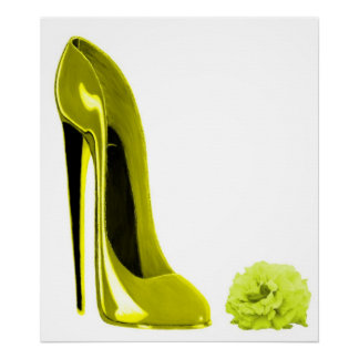 Chaussure stylet jaune mûre et RosePrint Affiches