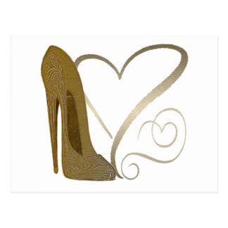 Chaussure stylet vintage et coeurs d'amour cartes postales