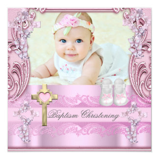 Chaussures croisées roses de baptême de photo de carton d'invitation  13,33 cm