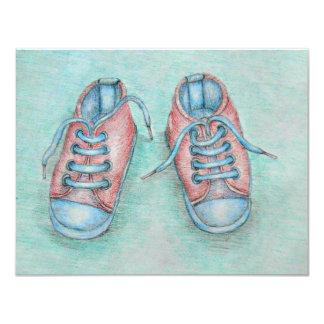 chaussures de bébé carton d'invitation 10,79 cm x 13,97 cm