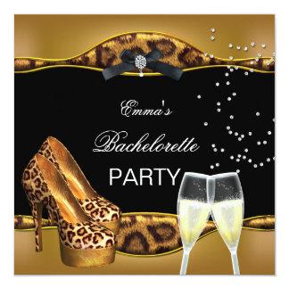 Chaussures de noir de léopard d'or de partie de carton d'invitation  13,33 cm