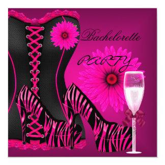 Chaussures de rose de noir de zèbre de corset de carton d'invitation  13,33 cm