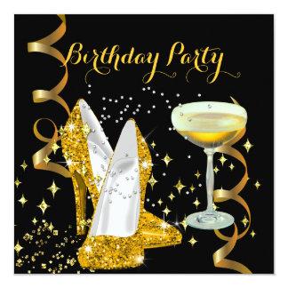 Chaussures d'or de Champagne de fête Carton D'invitation 13,33 Cm