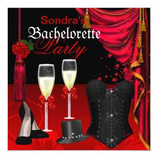 Chaussures noires rouges de partie de Bachelorette Carton D'invitation 13,33 Cm