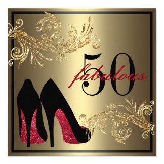 Chaussures rouges de danse - cinquantième carton d'invitation  13,33 cm