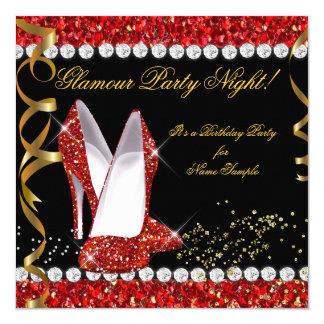 Chaussures rouges de noir d'or de scintillement de carton d'invitation  13,33 cm