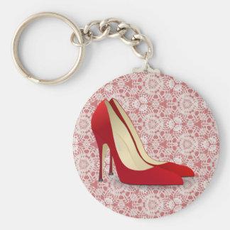 chaussures rouges de talon haut porte-clé rond