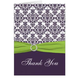 Chaux et carte de remerciements pourpre de damassé