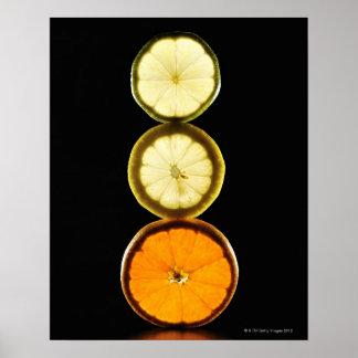 Chaux, pamplemousse, citron, fruit, arrière - plan posters