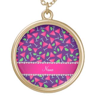 Chaux roses pourpres nommées faites sur commande pendentif rond