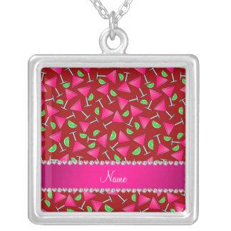 Chaux roses rouges nommées faites sur commande de pendentif carré