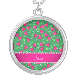 Chaux roses vertes nommées faites sur commande de pendentif rond