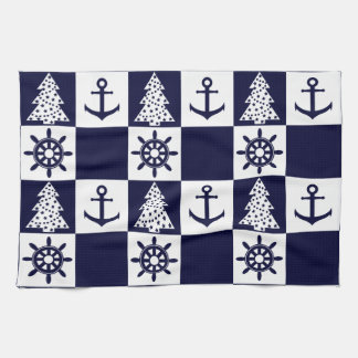 Checkered blanc bleu nautique linges de cuisine
