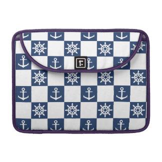 Checkered blanc bleu nautique poche pour macbook