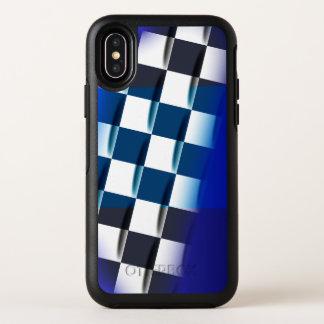 Checkered élégant sur l'arrière - plan bleu