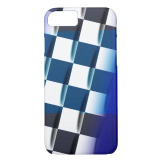Checkered élégant sur l'arrière - plan bleu coque iPhone 7