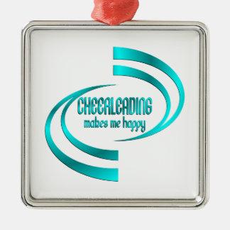 Cheerleading me rend heureux ornement carré argenté